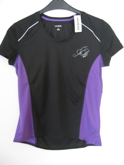 Damen Funktionsshirt  Laufshirt 100% Polyester Gr. S - schwarz / lila