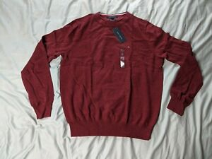 Tommy-Hilfiger-Men-039-s-Signature-Solid-Crew-Neck-Sweater-AB3-Red-Medium-NWT