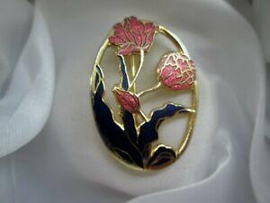 Vintage-Signed-Fish-amp-Crown-Jewellery-Cloisonne-Enamel-Flower-Brooch-Pin