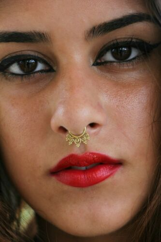 Silver Brass Septum 18 g 1 mm Spirals Tribal Nose Ring Pierced Jewelry Piercing