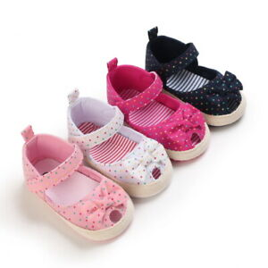 Newborn Baby Girls Soft Sole Pram Shoes Infant Princess Bow First Step Trainers