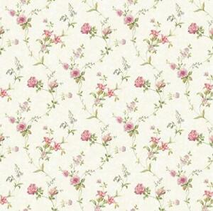 Wallpaper-Cream-Background-Tiger-Lily-Trail-Floral-Pink-Rose-Trail