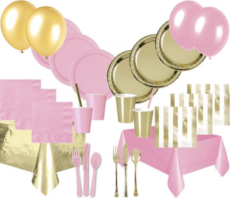 142 Teile Party Deko Set in Baby Rosa  Gold Glanz für bis zu 12 Personen | Nutzen Sie Materialien voll aus  | Modern