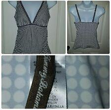 Tommy Bahama Swimsuit Tankini Large Black White polka dot Halter LG Top Only.