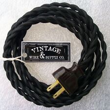 33 ft black twisted cloth covered wire vintage antique lamp cord rh ebay com vintage lamp wiring antique lamp cord set