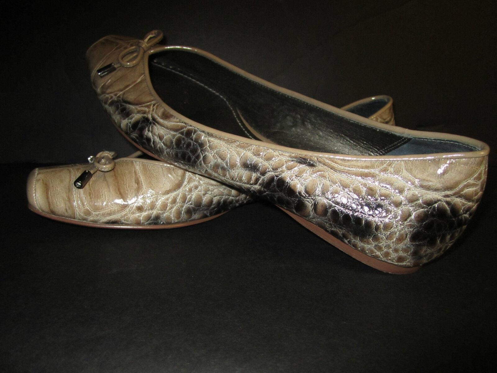 LINEA PAOLO Patent Leder Ballet Flats 8 ½ M tan Faux schwarz Faux tan Croc Reptile VGUC 319626