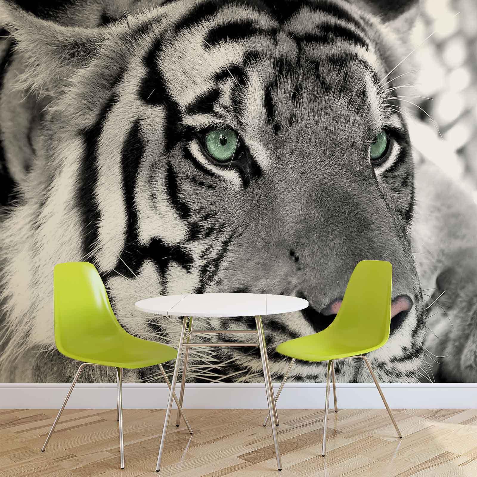 FOTOTAPETE WANDBILD FOTOTAPETEN BILD TAPETE Schwarz+Weiß Tiger Tier (W1320)