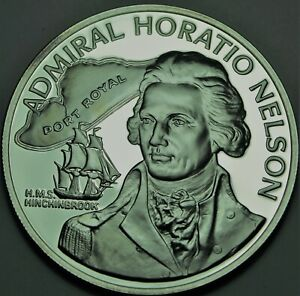 Jamaica 10 Dollars, 1976 RARE Silver Proof~31,000 Minted~Admiral Horatio Nelson
