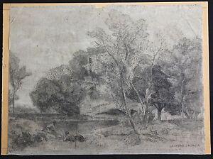 Gaspard-jean-Lacroix-1810-1878-Paesaggio-Animato-Testo-Camille-Corot-Barbizon