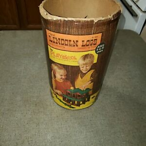Vintage-Old-Lincoln-Logs-Container-Packaging-No-Logs-Package-Only