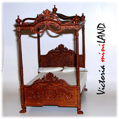 Miniature Four Poster Canopy Bed Fine Quality for dollhouse walnut 1 12