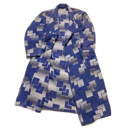 Vintage 50's Beacon Robe Blue Geometric Pattern Or