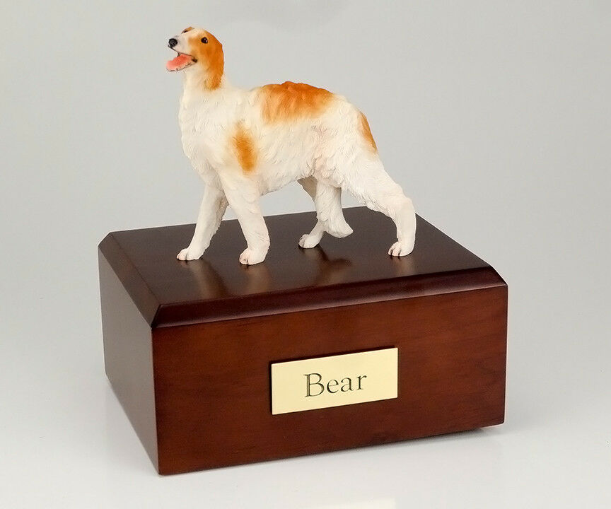 Borzoi Pet Funeral Cremation Urn, Engraved. Avail. 3 Different Colors 4 Sizes