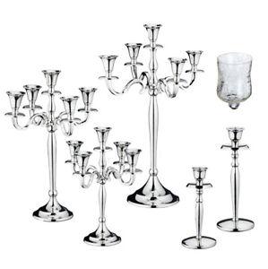 Kerzenstaender-Kerzenleuchter-5-armig-Metall-silber-Kandelaber-Stabkerze-Teelicht