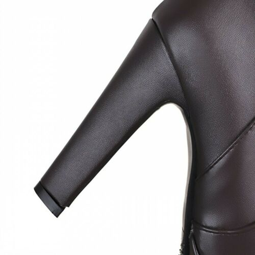 New Womens Black//Brown Round Toe Platform High Heels Over Knee Thigh Long Boots