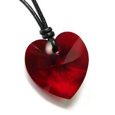 Swarovski Elements Crystal Love Pendant 1mm Black Leather Adjustable Necklace