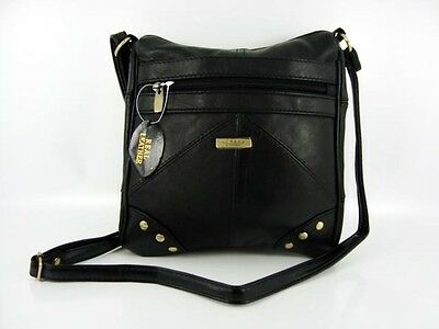 LADIES REAL NAPPA LEATHER LORENZ STUDDED SHOULDER/ACROSS BODY MESSENGER HANDBAG