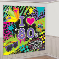 Totally 1980's 80's Decade Party i Love The 80's Plastic Wall Decorating Kit