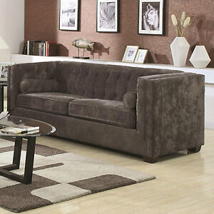 Merveilleux Image Is Loading SLEEK CHARCOAL GRAY GREY CHENILLE TUFTED SOFA COUCH