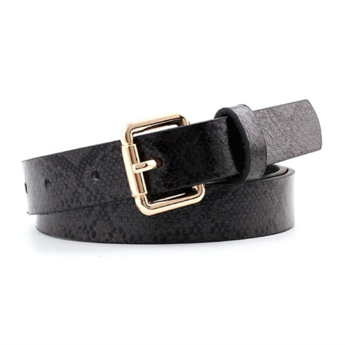 Ladies Women Dress Thin Waist Belt  Snake Skin Leather Belt TK