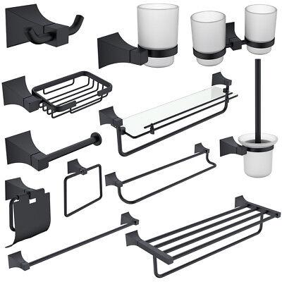 Fapully 4-Piece Bathroom Accessory Set Towel Bar Towel Ring Paper Holder Black