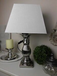 tischlampe tischleuchte silber wei landhaus vintage shabby e 27 a 48 cm ebay. Black Bedroom Furniture Sets. Home Design Ideas
