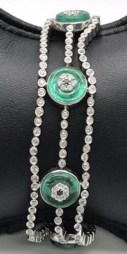 Sterling Silver Green Tourmaline CZ Triple Row Elegant Evil Eye Tennis Bracelet