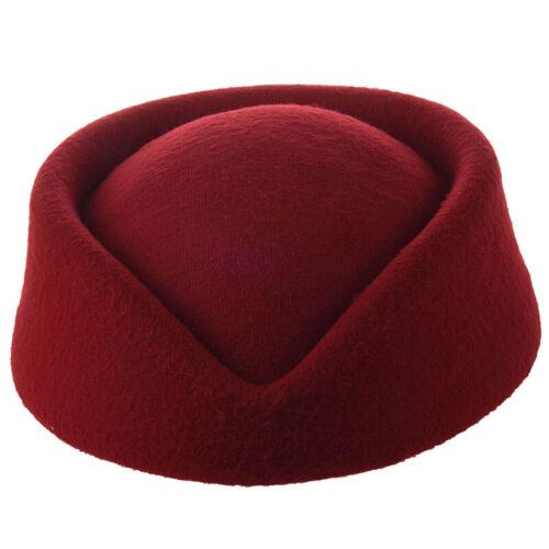 Neue elegante Wolle Filz Pillbox-Hut Stewardess Luft Hostessen Baskenmuetze I3E7