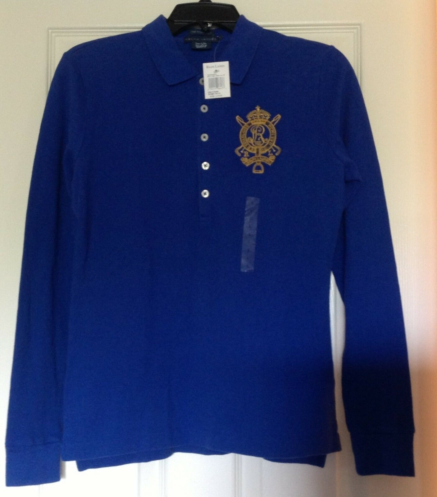 NWT, Ralph Lauren top, royal bluee, embroidered logo RL crest, skinny polo, L