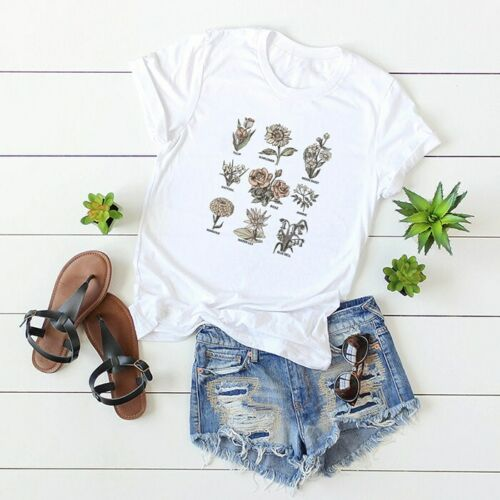 Women Plant Flowers Rose Environment Tee Blouse Funny Top Short Sleeve T-Shirt