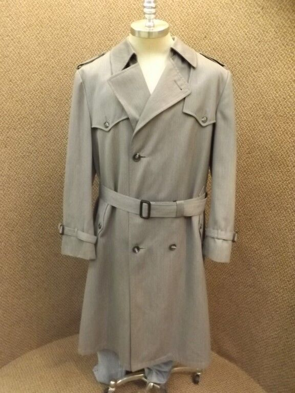 Classy Upscale Dior grau Wool Blend Zip Out Liner  Herren Trench Coat 40-42R Nice