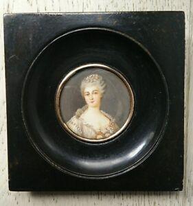 Peinture-miniature-portrait-jeune-fille-epoque-XIXeme-signe-antique-oil-peint