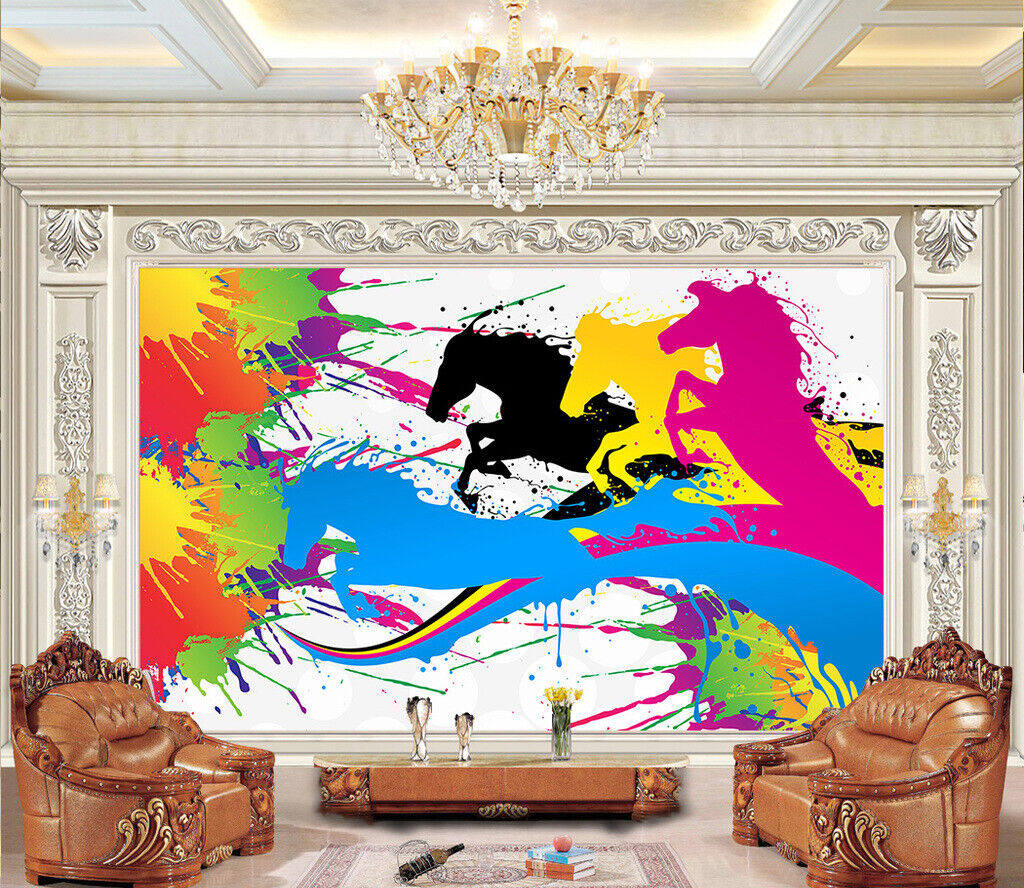 3D WaterFarbe Horse N31 Wallpaper Wall Mural Removable Self-adhesive Sticker Amy