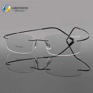 124590ef4d Image is loading Unisex-Memory-Titanium-Flexible-Rimless-Myopia-Eyeglass- Frames-