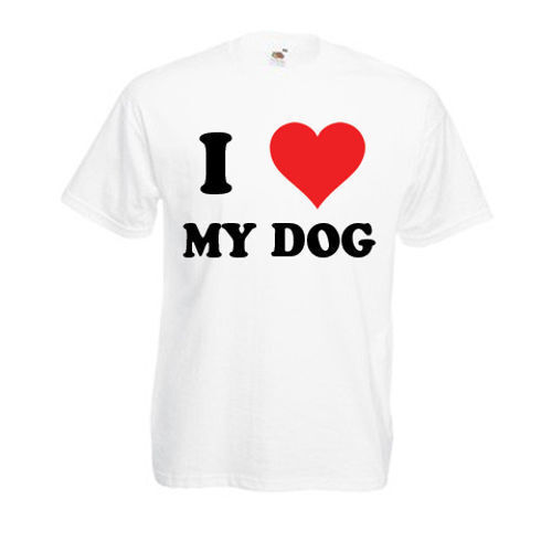 Personalised I Love My Dog T-Shirt Mens Ladies Womens Funny Novelty Gift Top