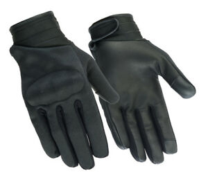 Men S Knuckle Lightweight Textile And Leather Black Genuine Motorcycle Gloves Ebay