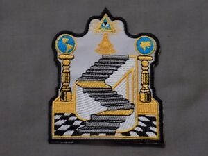 "Masonic 4"" Patch Iron Sew On 3*5*7 Stairway Pillars All Seeing Eye Past Master"
