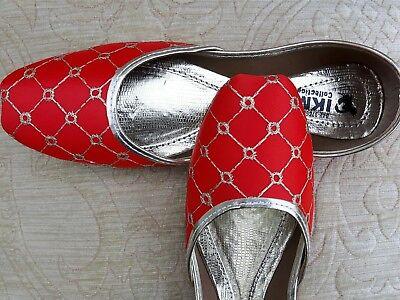 Indio Rojo Señoras De Cuero Boda Fiesta Zapatos Talla 5