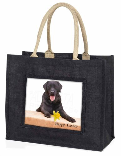 'Happy Easter' Black Labrador Large Black Shopping Bag Christmas P, ADL86DA1BLB