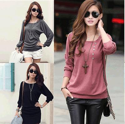Fashion Batwing Coat Women Loose Casual Cotton long Sleeve T-Shirts Tops Blouse
