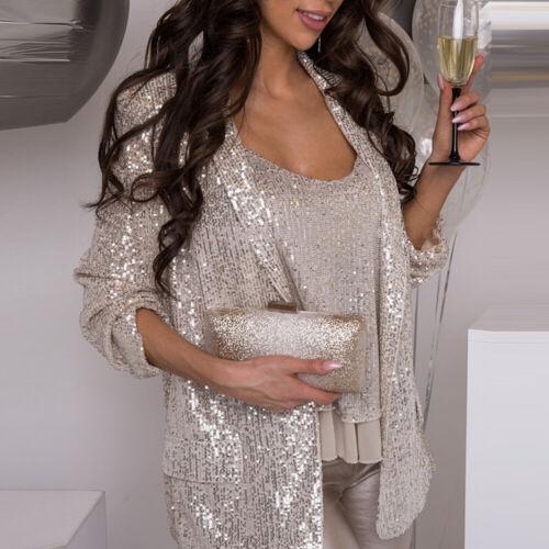 2 tlg Damen Pailletten Blazer Kurzjacke Glitzer Mantel Bluse Clubwear Anzüge