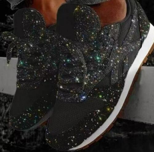 New Women/'s Sequin Glitter Lace Up Fashion Shoes Comfort Athletic Sneakers