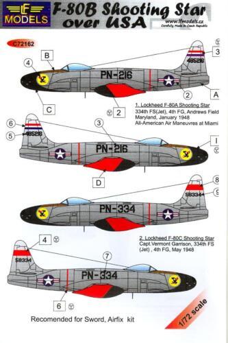 LF Models Decals 1//72 LOCKHEED F-80B SHOOTING STAR w//Masks /& Resin Drop Tanks