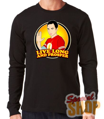 "Long-Sleeved T-Shirt Long /"" the Big Bang Theory-Live and Prosper /"" Sleeve"