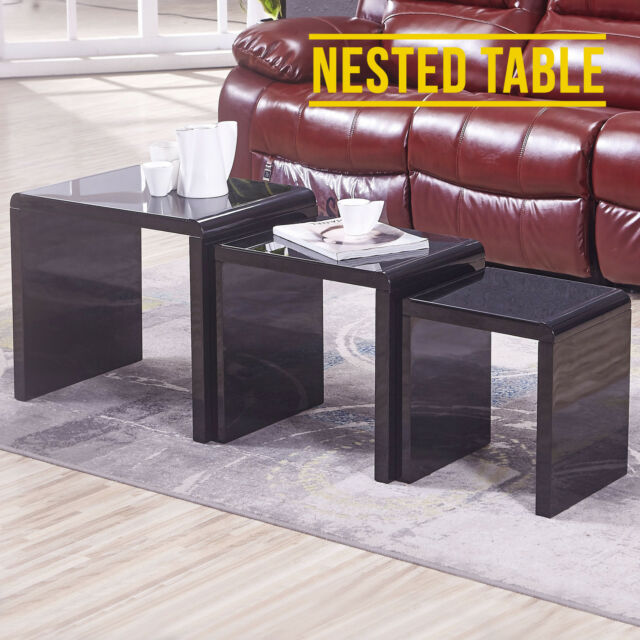 Black Glass Top High Gloss Nest of Tables 3 Coffee Table Side/End Furniture