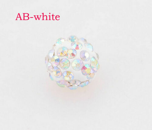 100 Pcs Cz Crystal Shamballa loose Beads Pave Disco Balls 10MM ab white