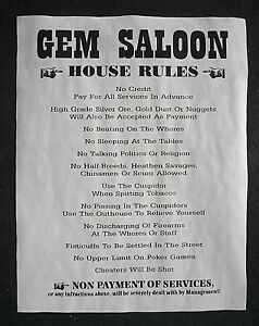 "OLD WEST SALOON GEM HOUSE RULES DEADWOOD BAR BEER PUB DECOR POSTER 11x14/"" 263L"