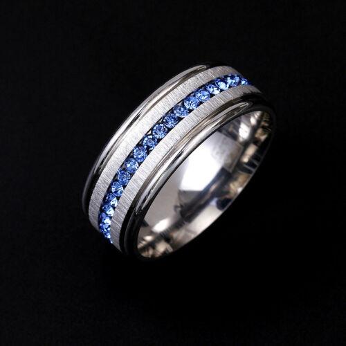 Men/'s TitaniumSteelBlue Crystals Wedding Anniversary Band Men/'s Ring M101