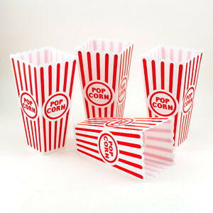 Reuseable-Popcorn-Plastic-Containers-Bowl-Movie-Theater-Style-Red-White-Set-Lot