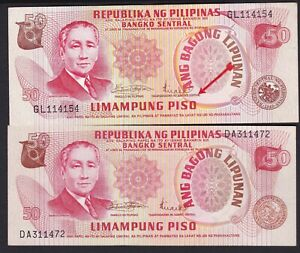 Philippines-ABL-50-pesos-CB-Governor-034-RED-and-BROWN-034-color-Title-2-Banknote-Unc